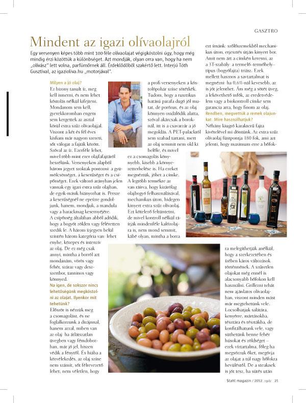 Stahl Magazin 2012 nyár, igazioliva cikk első oldal