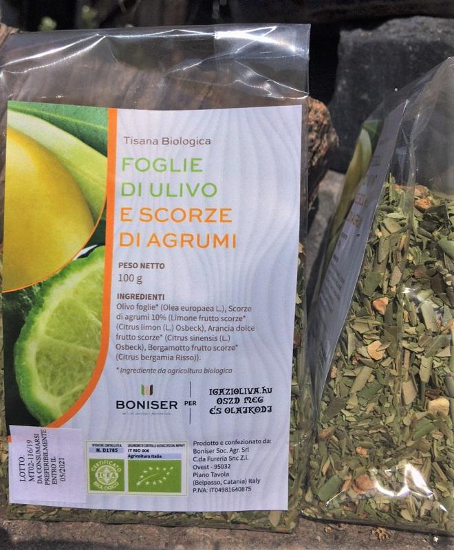 BIO olajfalevél-tea, CITRUSOS, 100 g - igazioliva
